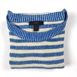 J.Crew linen blend blue heather striped sweater